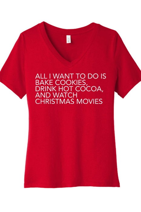 Picture of Bake Christmas Cookies V-Neck Graphic Tee