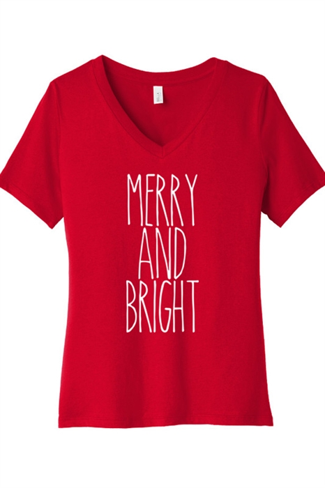 Picture of Merry and Bright Red V-Neck Graphic Tee