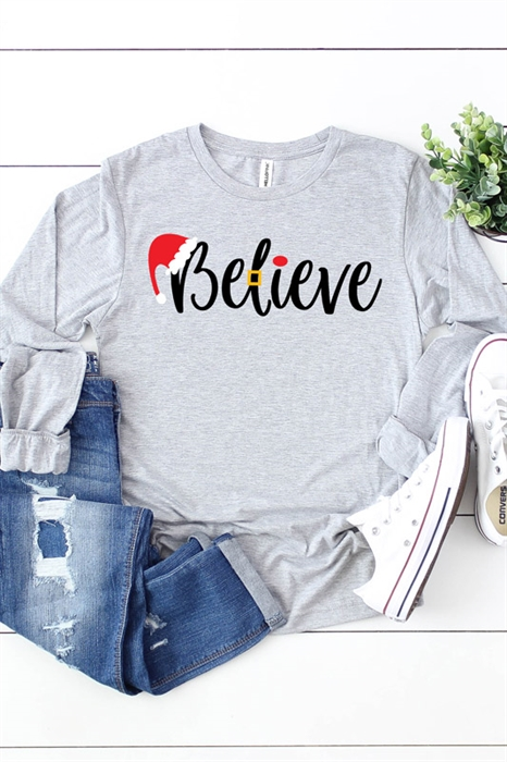Picture of Believe Long Sleeve Graphic Tee
