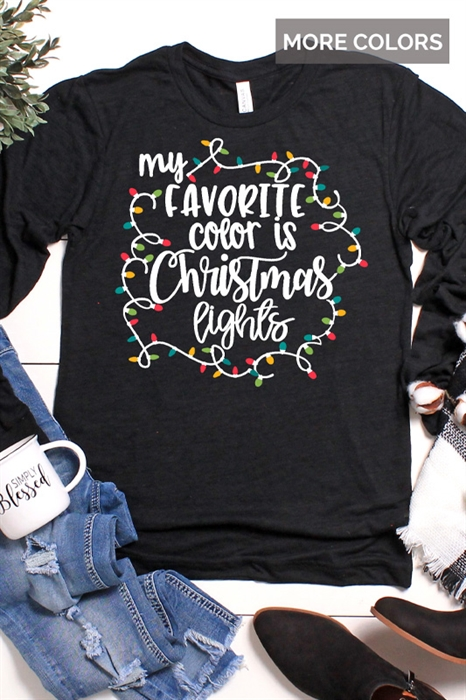Picture of Throwback My Fav Color Is Christmas Lights Long Sleeve Graphic Tee